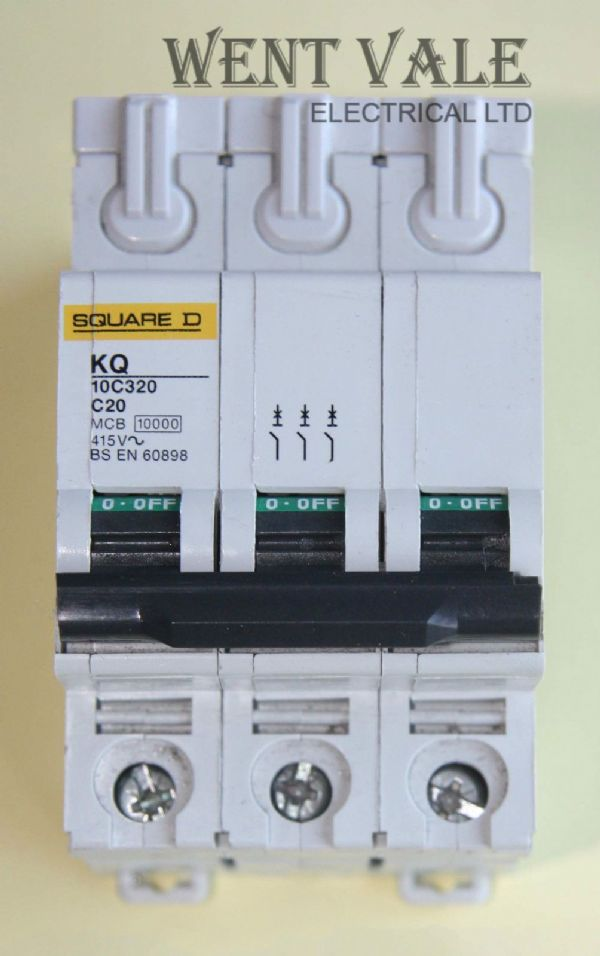 Square D Loadcentre - KQ10C320 - 20a Type C Triple Pole MCB Used